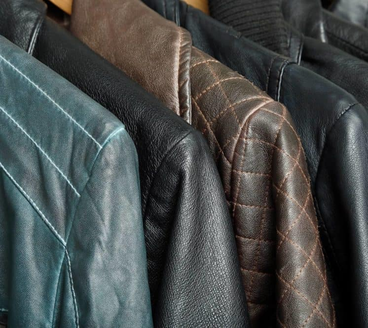 Rack of leather jackets