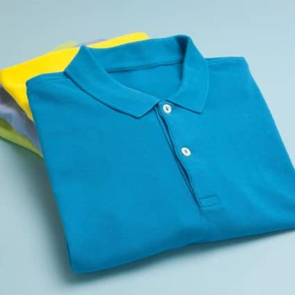 Folded and stacked polo shirts