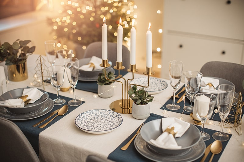 table setting with white table cloth