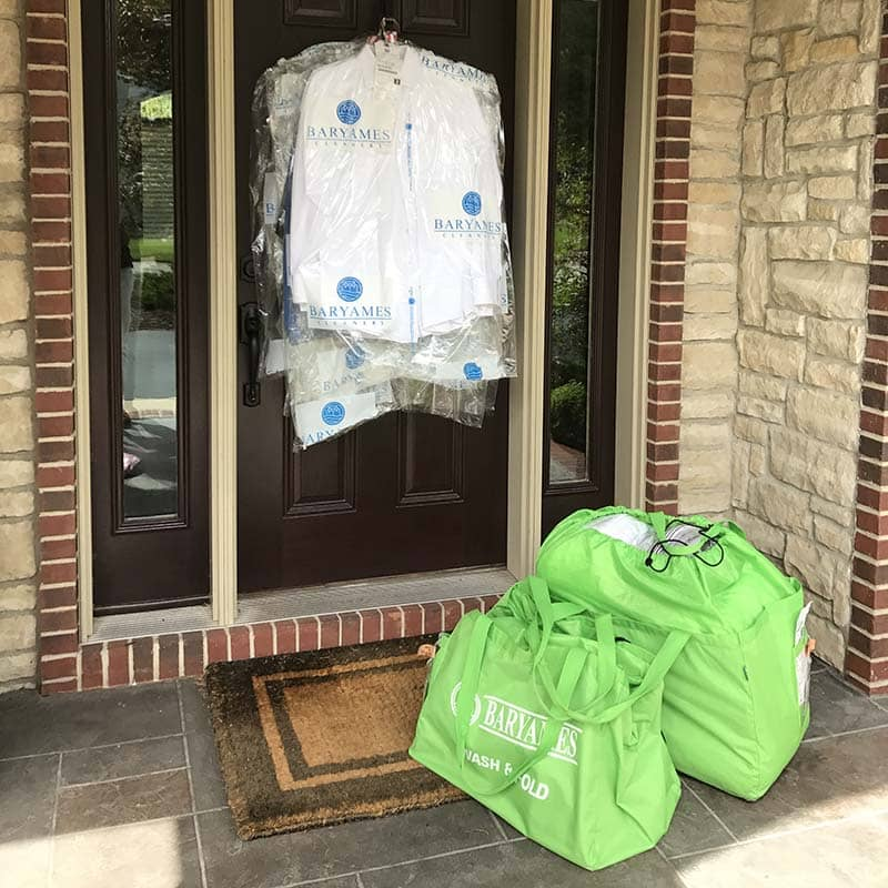 dry cleaning delivered to front porch